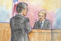 Apple attorney Lee is shown questioning Samsung's chief strategy officer Denison in the witness stand, looks on, in this court sketch during a high profile trial between Samsung and Apple in San Jose