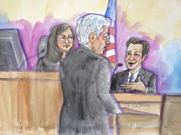 Apple attorney McElhinny is shown direct-examining Apple software chief Forstall in the witness stand as U.S. District Judge Koh looks on, in this court sketch in San Jose
