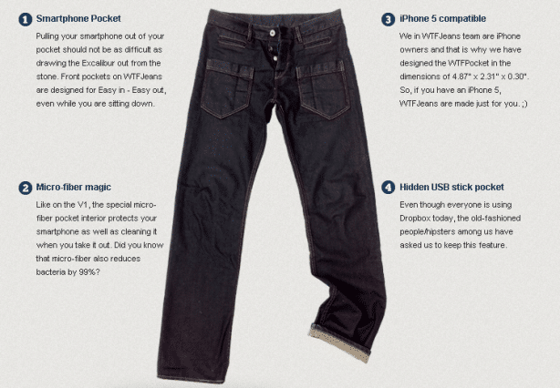 Specially Designed Smartphone Jeans - iPhone 5 Compatible - WTFJEANS
