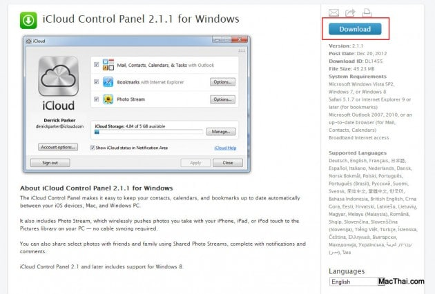 iCloud Control Panel 2.1.1 for Windows