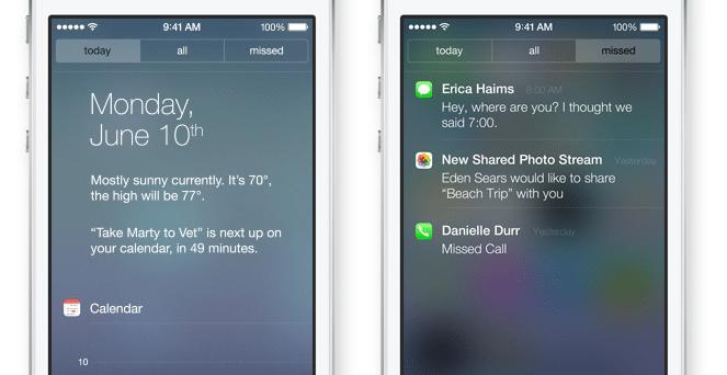 iOS 7 - Notification Center