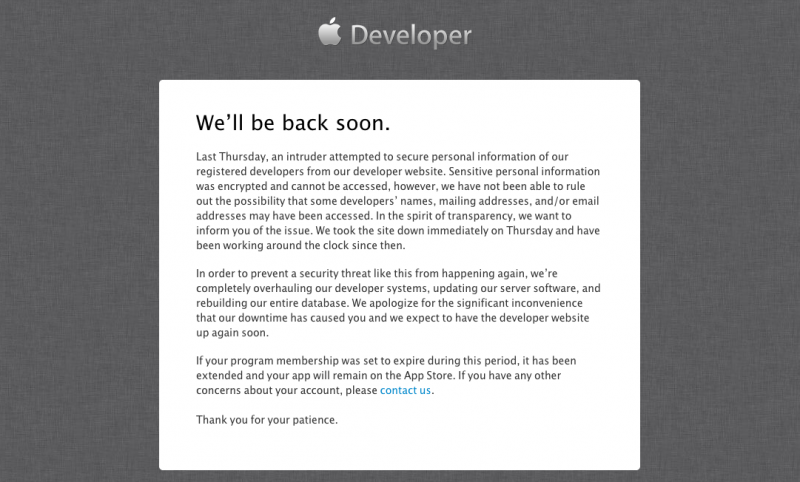 apple-developer-center-hack-down-for-4-day