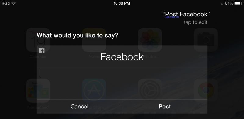 Facebook Post in iOS 7