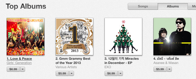 album-love-peach-snsd-and-miracle-in-december-exo-on-sale-in-itunes-store-thailand