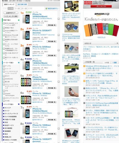 iPhone 5s 5c Chart Japan