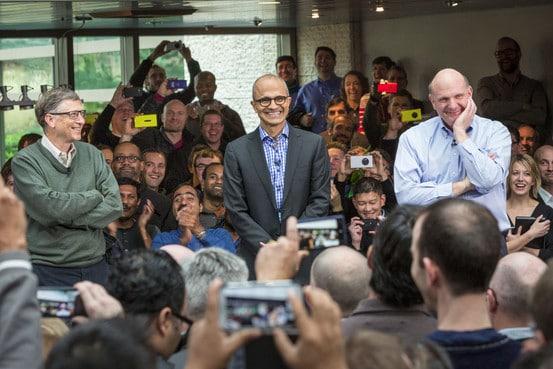 3 ซีอีโอแห่ง Microsoft ซ้าย-Bill Gates กลาง-Satya Nadella ขวา-Steve Ballmer