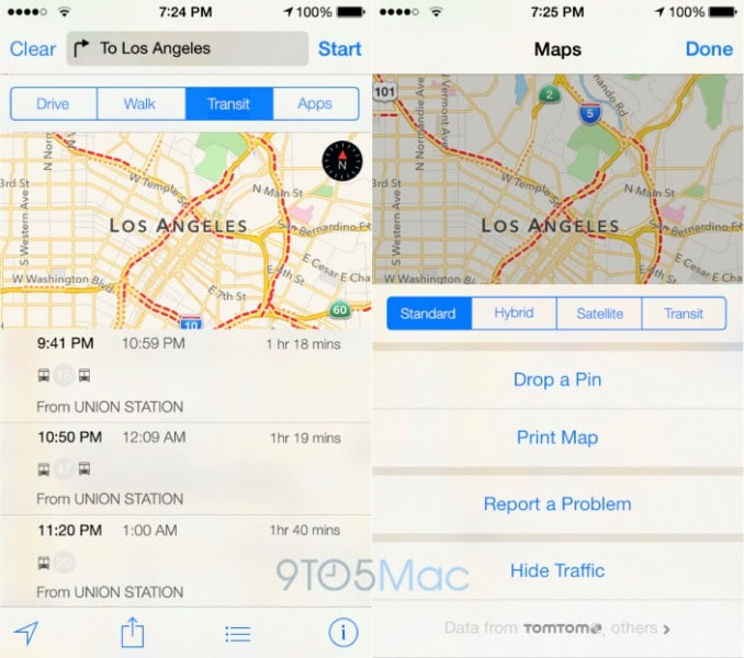 ภาพจำลองระบบนำทางโดยใช้ขนส่งสาธารณะ ใน iOS 8