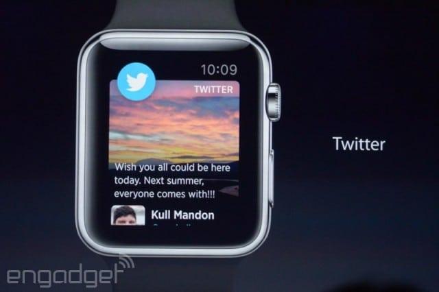 ตัวอย่างแอพ Twitter บน Apple Watch