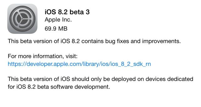 iOS 8.2 beta 3 changelog