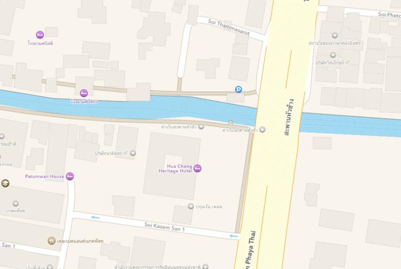 เส้นทางเดินเรือคลองแสนแสบใน Apple Maps