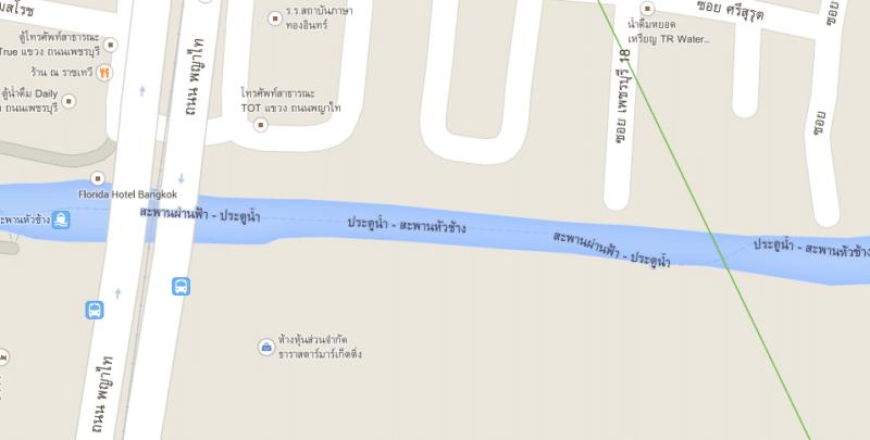 เส้นทางเดินเรือคลองแสนแสบใน Google Maps