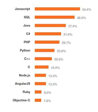 ผลสำรวจภาษาที่นักพัฒนาใช้มากที่สุด