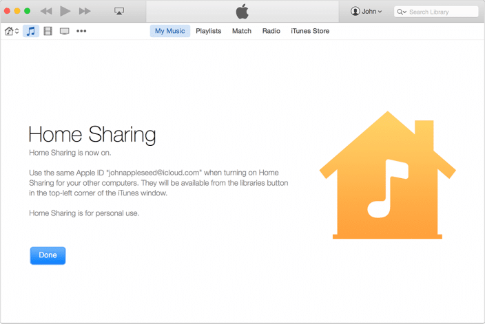 how to turn on itunes home sharing from ipad