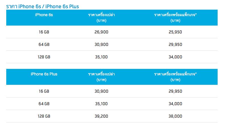 iphone 6s price dtac