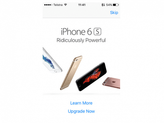 iphone 6s popup ad