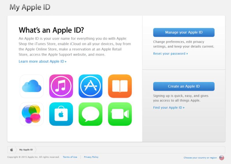 หน้าเว็บจัดการ Apple ID เดิม