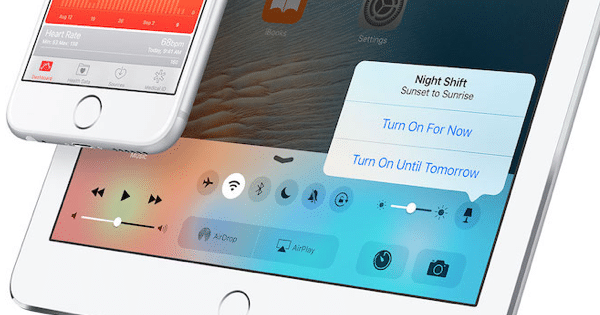 night shift toggle ios 9.3