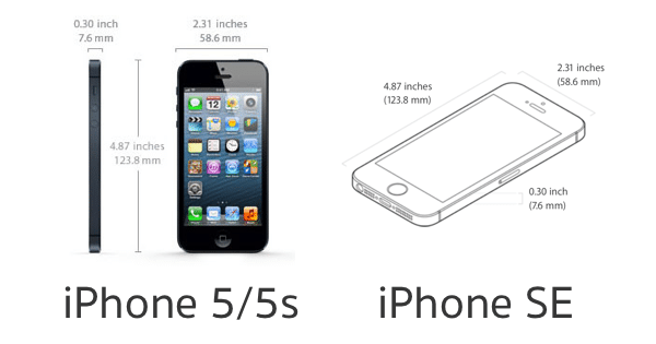 iphone 5 5s se same dimensions