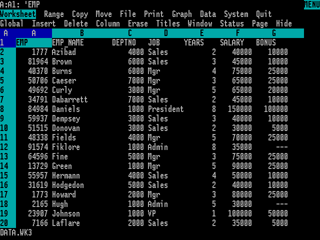 Lotus 1-2-3 โปรแกรมจัดการเอกสารตาราง