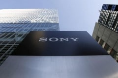 A logo of Sony Corp is seen outside its headquarters in Tokyo