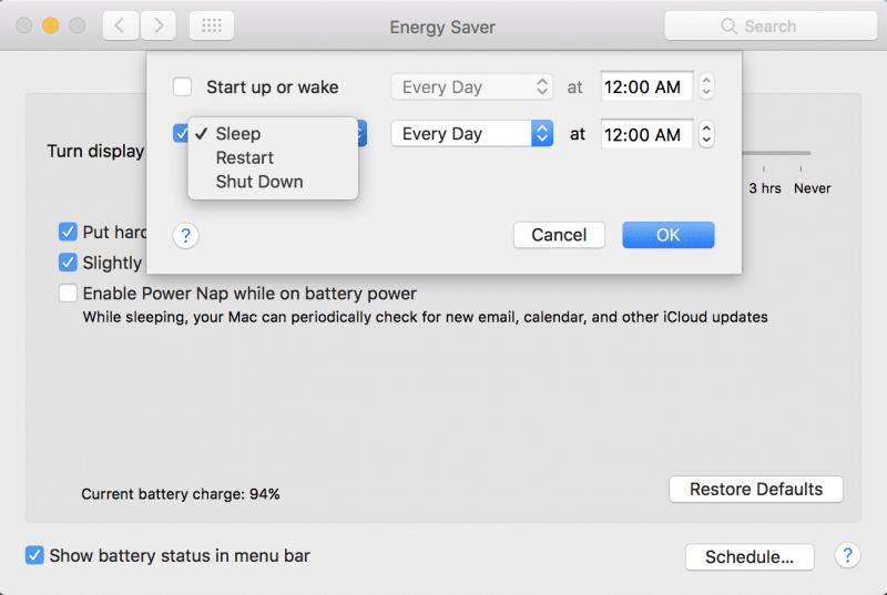 how to schedule mac to sleep wake up restart shutdown-1
