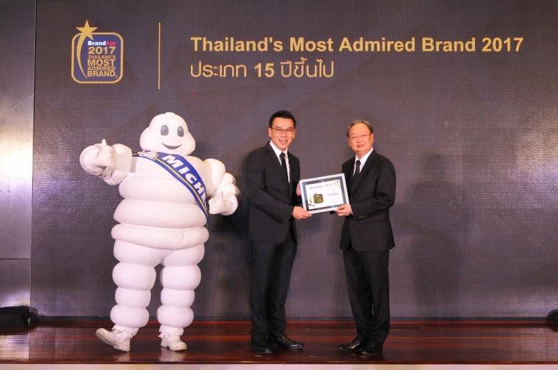 มิชลินรับรางวัล Thailand's Most Admired Brand กลุ่มยางรถยนต์  ประจำปี 2017 ต่อเนื่อง 17 ปี