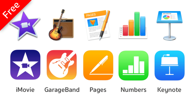 Apple IMovie GarageBand IWork Mac IOS