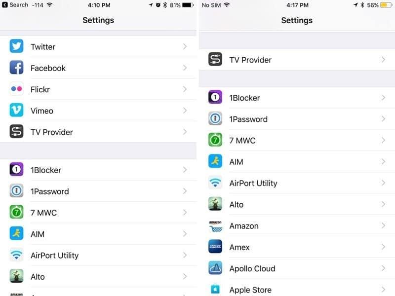 ซ้าย: Settings ใน iOS 10 ขวา: Settings ใน iOS 11 ที่ตัด Facebook-Twitter ออกไปอยู่ด้านล่างเหมือนแอพอื่น