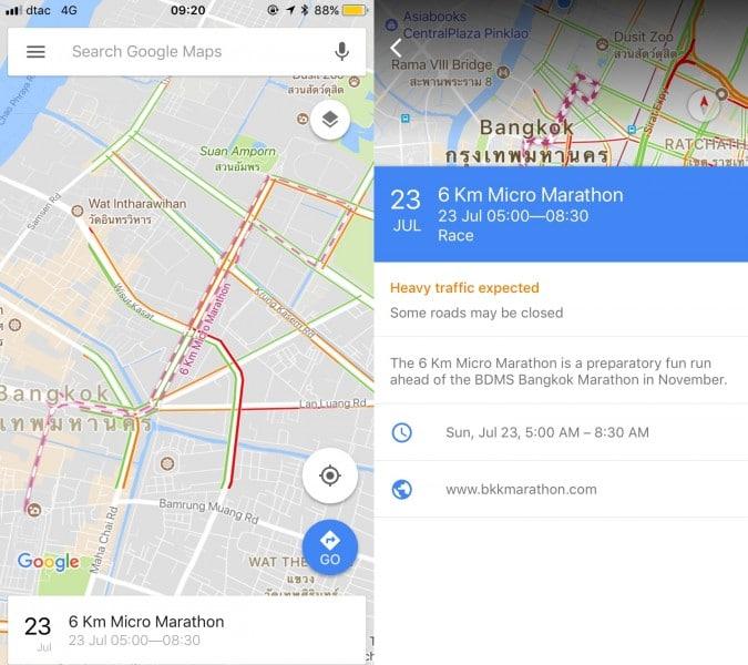 google maps marathon route