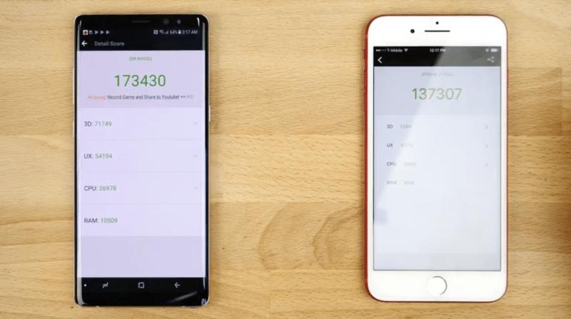 speed test samsung galaxy note 8 iphone 7 plus 6