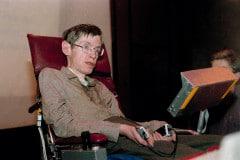 Stephen Hawking, British astrophysicist, is shown in Chicago Monday, Dec. 15, 1986. (AP Photo/Banks)
