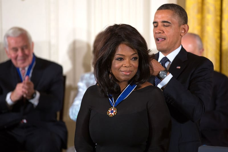 President Barack Obama awards the 2013 Presidential Medal of Freedom to Oprah Winfrey during a ceremony in the East Room of the White House, Nov. 20, 2013. (Official White House Photo by Lawrence Jackson)