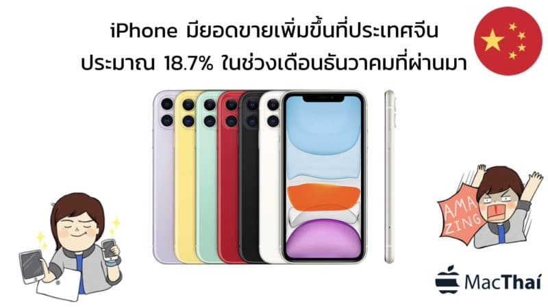 iPhone มียอดขายเพิ่มขึ้นที่ประเทศจีนประมาณ 18.7% ในช่วงเดือนธันวาคมที่ผ่านมา
