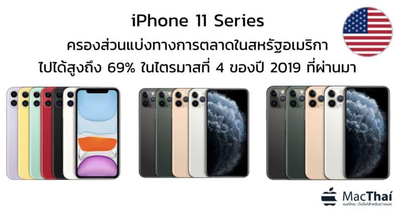 iPhone 11 Series ครองส่วนแบ่งทางการตลาดในสหรัฐอเมริกาไปได้สูงถึง 69% ในไตรมาสที่ 4 ของปี 2019 ที่ผ่านมา