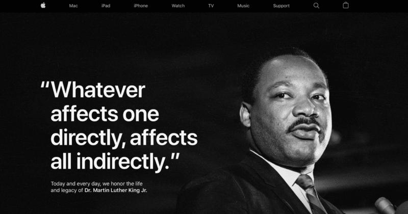 Apple ปรับหน้าเว็บ รับวัน Martin Luther King Jr.