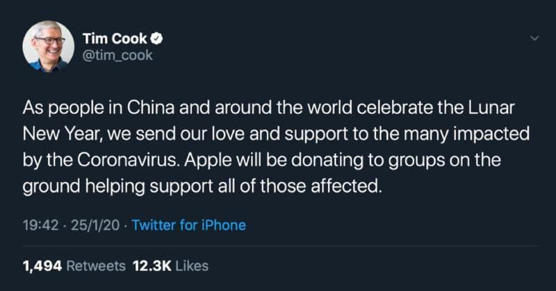Apple ร่วมบริจาคสมทบทุนให้กับผู้ที่ได้รับผลกระทบในจีน หลังพบวิกฤต ไวรัสโคโรน่าสายพันธุ์ใหม่ 2019