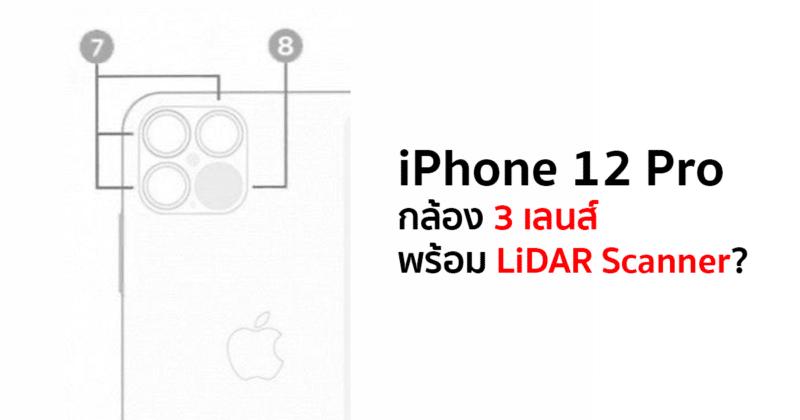 ภาพที่หลุดออกมาเผยหน้าตาของกล้อง iPhone 12 Pro ที่มาพร้อม 3 เลนส์และ LiDAR Scanner