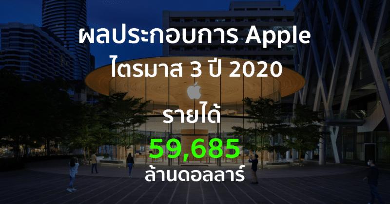 ผลประกอบการ Appleไตรมาส 3 ปี 2020 รายได้กว่า 59,685 ล้านดอลลาร์, ส่งผลหุ้นราคาพุ่งเกิน 400 ดอลลาร์