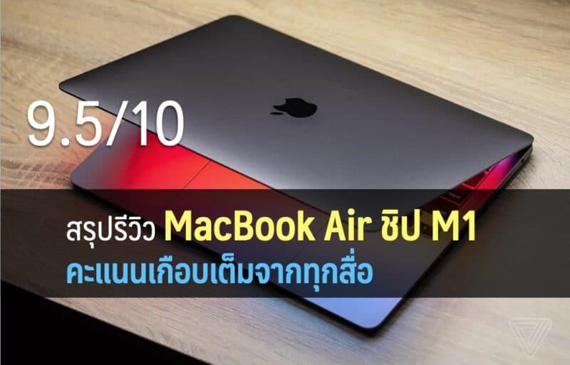 รีวิว MacBook Air ชิป M1 ได้คะแนนเกือบเต็ม 10 จากทุกเว็บ เร็วแรงจริง, แบตอึดมาก, ในราคาเท่าเดิม