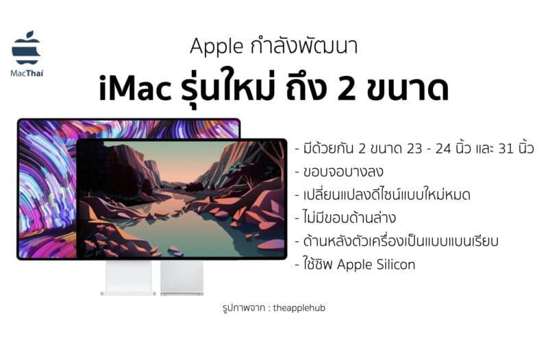 Apple กำลังพัฒนา iMac รุ่นใหม่ ที่จะมาพร้อมกับดีไซน์แบบใหม่ ขอบจอบางลง และใช้งาน Apple Silicon