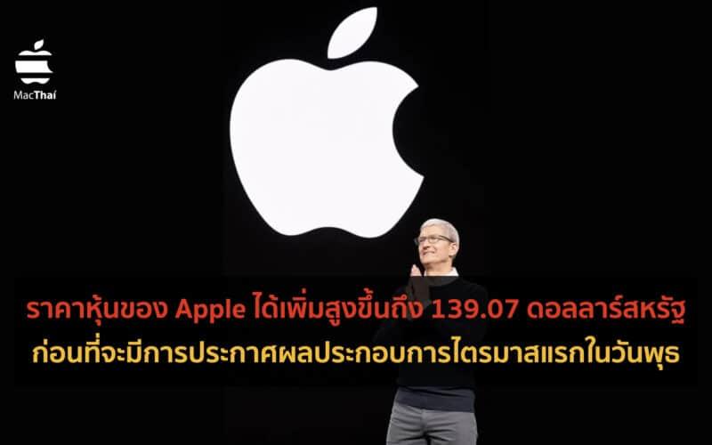 ราคาหุ้นของ Apple ได้เพิ่มสูงขึ้นถึง 139.07 ดอลลาร์สหรัฐ ก่อนที่จะมีการประกาศผลประกอบการไตรมาสแรกในวันพุธ