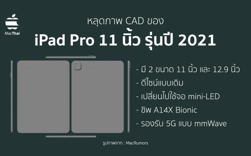 หลุดภาพ CAD ของ iPad Pro 11 นิ้ว รุ่นปี 2021 ที่ได้มาจากโรงงานของ Apple