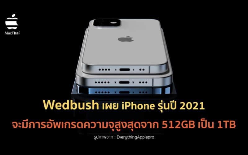 Wedbush เผย iPhone รุ่นปี 2021 จะมีการอัพเกรดความจุสูงสุดจาก 512GB เป็น 1TB