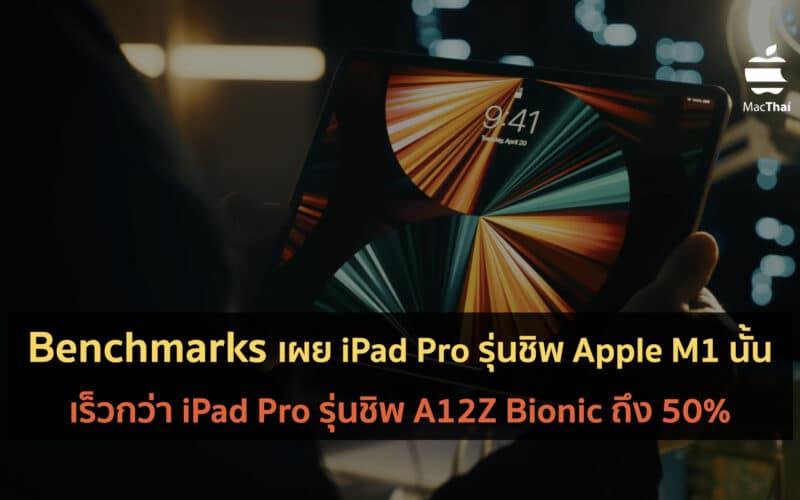 ผลทดสอบจาก Benchmarks เผยให้เห็นว่า iPad Pro รุ่นชิพ M1 นั้นเร็วกว่า iPad Pro รุ่นชิพ A12Z ถึง 50%