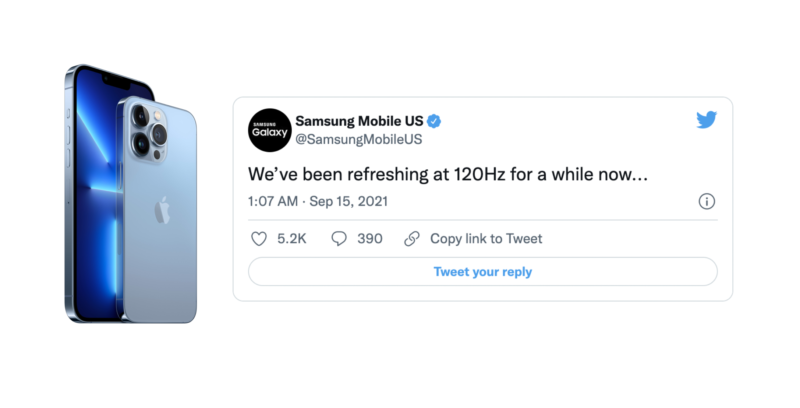 ไม่พลาด !! Samsung แซะ iPhone 13 Pro บอกเรามีจอ 120Hz มาสักพักแล้วนะ